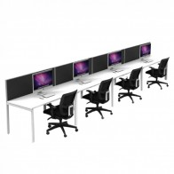 Agility 4 Person Office Workstation Single Sided with Privacy Screens