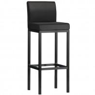 Minimalist Bar Stool Black Frame with Backrest 78cm
