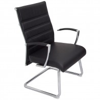 Modern Executive Cantilever Chair Black Leather