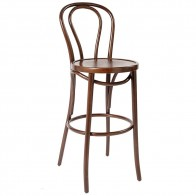 Genuine No 18 Bentwood Bar Stool with Back by Michael Thonet 75cm