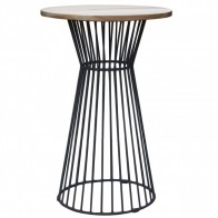 Oak Bar Table with Studio Wire Base
