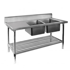 FED Economic 304 Grade SS Right Double Sink Bench 1800x600x900 with two 610x400x250 sinks 1800-6-DSBR