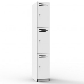 White 3 Door Melamine Locker
