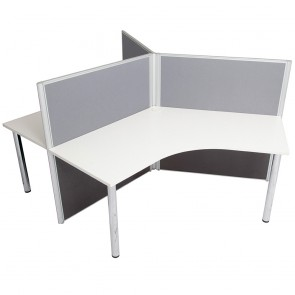 Agile 3 Person 120 Degree Workstation with Screen