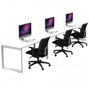 Agility 3 Person Single Sided Office Workstation with Loop Legs