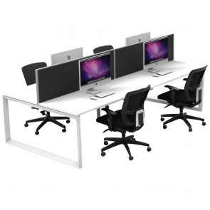 Agility 4 Person Double Sided Office Workstation Loop Legs with Privacy Screens