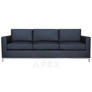Aimee Modern Black Leather Sofa Lounge 3 Seater