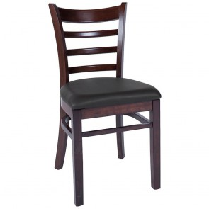 Abby Timber Commercial Dining Chair with Upholstered Vinyl Seat