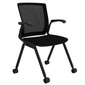 Alpha Visitor Arm Chair Mesh Back with Castors