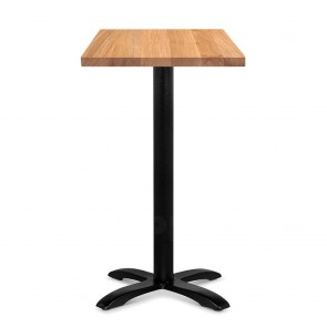 Alvina Modern Oak Bar Table Square Solid Timber Top Black Legs