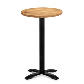 Alvina Modern Oak Bar Table Round Solid Timber Top Black Legs