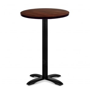 Alvina Modern Bar Table Round Solid Timber Top Black Legs