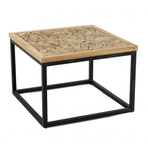 Angelika Coffee Table In Recycled Teak Wood with Black Tube Iron Legs
