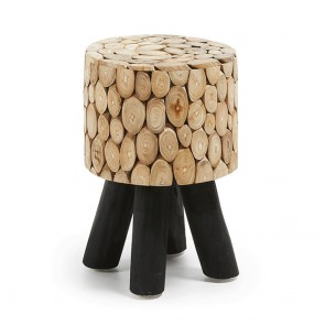 annete solid teak stool decorative wood pattern