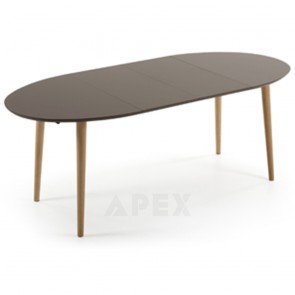 Antonelle Extendable Dining Table Oval Brown Top Natural Wood Legs 120 - 200cm 5