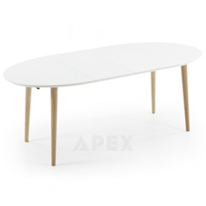 Antonelle Extendable Dining Table Oval White Top Natural Wood Legs 120 - 200cm 5