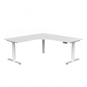 Aspire Electric Sit Stand 90° Corner Office Workstation White Frame