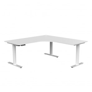 Aspire Electric Sit Stand Corner Desk White Frame