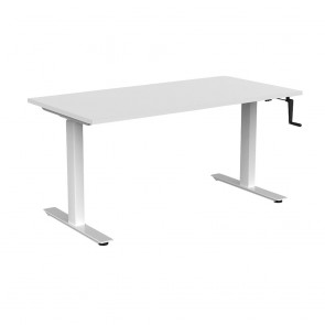 Aspire Manual Height Adjustable Office Desk White Frame