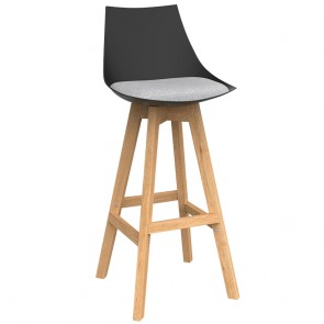 Astrid Black Barstool with Oak Base