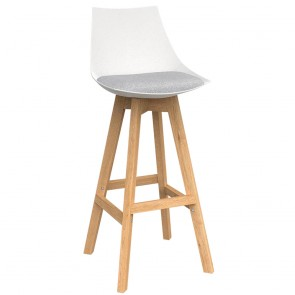 Astrid White Barstool with Oak Base