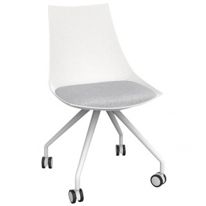 Astrid White Chair with Castor Base