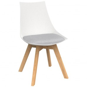 Astrid White Chair with Oak Base
