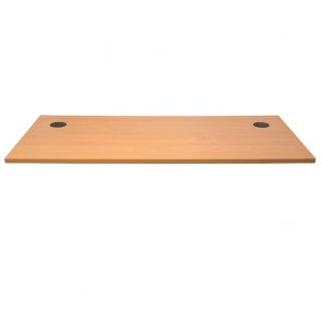 Beech Straight Office Desk Table Top with 2 Cable Entry
