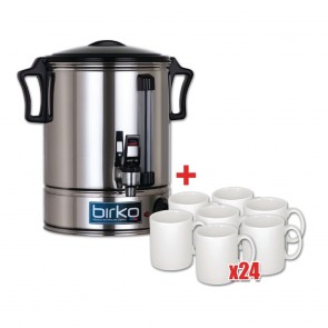 Birko 30Ltr Hot Water Urn and 24 Free Mugs