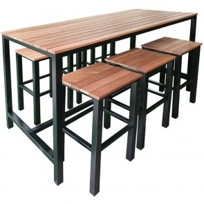 Black Beer Garden Outdoor Bar Table and Stools