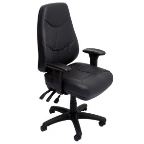 Black Real Leather Ergonomic Executive Chair