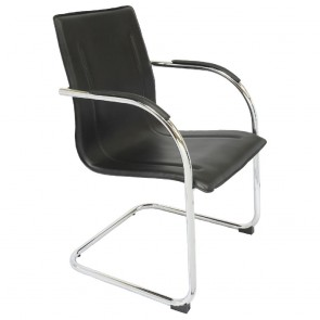 Cantilever Visitor Chair Black and Chrome