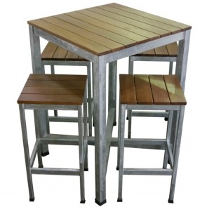 Carita Outdoor Bar Furniture Pub Table and Bar Stools Setting