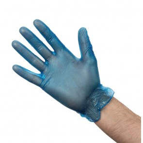 CB254-M Vogue Vinyl Food-Prep Gloves Blue Powdered - Size M (Box 100)