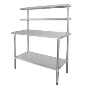 CC359 Vogue Table with Gantry Shelf Stainless Steel - 1500(h) x 1200(w) x 600mm(d)
