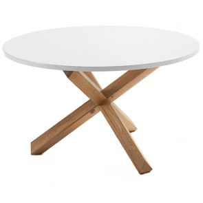 Cherilyn Round Table Oak Legs White Top