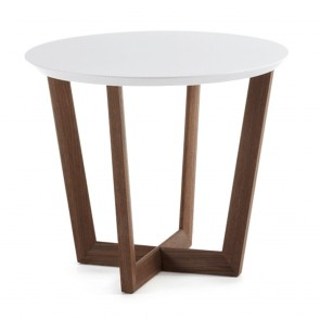 Cintia White Side Table Walnut Timber Legs