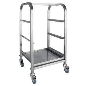 """CL269 Vogue Glass Racking Trolley 3 Tiers for 350x430mm 14x17"""" Baskets"""