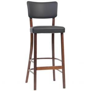 Clio Handmade Wood Bar Stool with Black Leather Seat