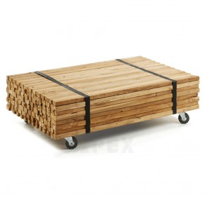 Coffee Table In Teak Wood On Wheels