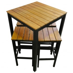 Commercial Outdoor Bar Table and Stools Black