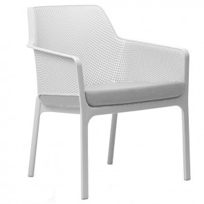 Contemporary Lounge Chair - White - Gray Cushion