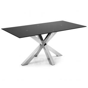 Corinne Black Glass Table Stainless Steel Legs