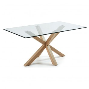 Corinne Glass Dining Table Timber Legs