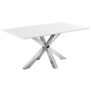 Corinne White Table with Stainless Steel Legs