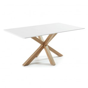 Corinne White White Table Natural Wood Legs