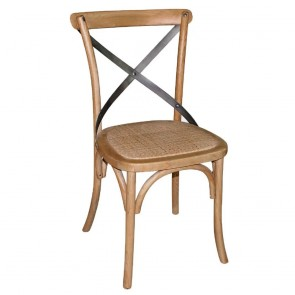 Cross Back Wooden Dining Chair with Rattan Seat