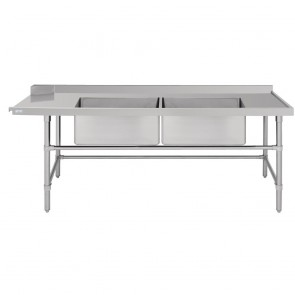DE476 Vogue Dishwasher Inlet Table with Double Bowl Sink 90mm outlet 2400x700x960mmR/H
