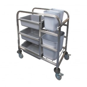DK738 Vogue Stainless Steel Bussing Trolley - 900(H)x820(W)x440(D)mm