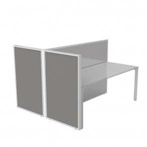Double Acoustic Privacy Screen for Dual Office Workstation Returns